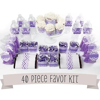 Chevron Purple - DIY Party Favors Kit - 40 Piece Decoration Set