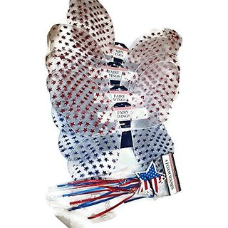 Patriotic Glittered Fairy Wing BBQ Party Bundle: Four Sets of Patriotic White Net Fairy Wings with Glittered Red and Blu