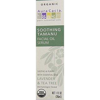 Aura Cacia Soothing Tamanu Facial Oil Serum, 1 Fluid Ounce