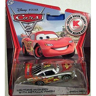 Disney - Pixar CARS 2 Movie Exclusive 155 Die Cast Car SILVER RACER Lightning McQueen