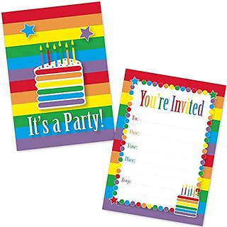 Rainbow Cake Birthday Invitations for Girls (20 Count with Envelopes)