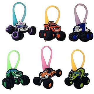 Blaze and the Monster Machines Luminescent Colorful Silicone Snap Lock Zipper Pulls 6 Pcs Set #1