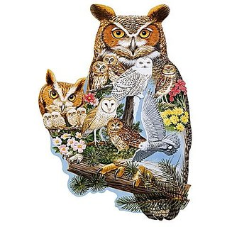 Bits and Pieces - 300 Piece Shaped Puzzle - The Watchers, Owl - by Artist Jack Williams - 300 pc Jigsaw