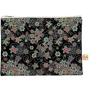 Kess InHouse My Small Flowers Everything Bag Flat Pouch Julia Grifol, Black Floral, 8.5 by 6-Inch (JG1038AEP01)