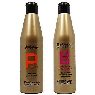 Salerm Protein Shampoo & Balsam Conditioner 250ml Duo