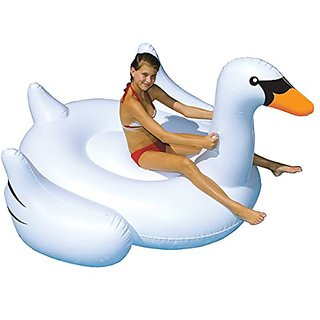 Inflatable Giant White Swan Float, Pool Toy, Swimming Rideable Raft, 80 Inches