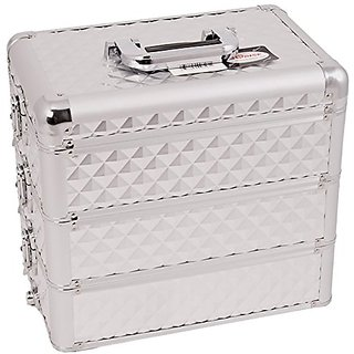 Craft Accents Professional Aluminum Cosmetic Makeup Case, Silver Diamond Pattern, 192 Ounce