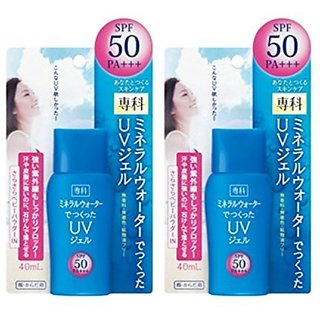 Shiseido SENKA Sunscreen Mineral Water UV Gel SPF50 PA+++ 40ml (Pack of 2)