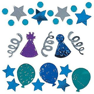 Amscan Birthday Celebrations Confetti Mixes Value Pack, 1.2 oz., Blue