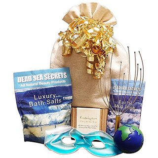 Premier Dead Sea Relaxation Bath & Body Spa Gift Set: Dead Sea Salts with Lavender, Dead Sea Mud Mask, Eucalyptus Oil Te