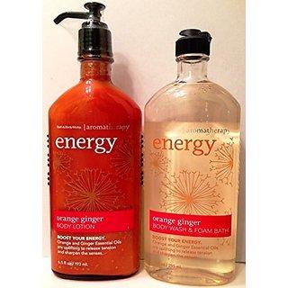 Bath & Body Works, Aromatherapy Body Wash & Foam Bath and Body Lotion, Orange Ginger (2-Pack Bundle)