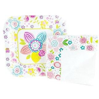 Spring Fling! Square Paper Plates and Napkins Set - 34-pc Set (Flower and Ladybug)
