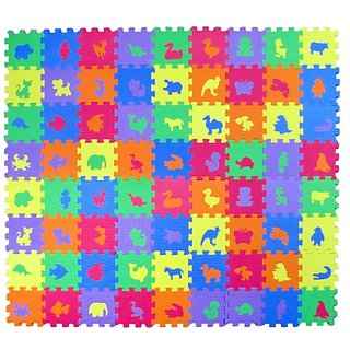 Animal Zoo Educational Foam Puzzle Floor Mat for Kids + 72 Pieces, 6