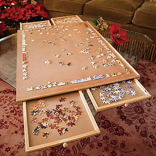 Bits and Pieces - Standard Size Wooden Puzzle Plateau-Smooth Fiberboard Work Surface - Four Sliding Drawers Complete Thi