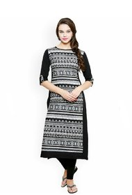 Women's Printed Cotton Black Straight kurti