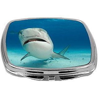 Rikki Knight Compact Mirror, Tiger Shark Nose Up