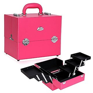 Sunrise Professional Beauty Makeup Artist Train Case Cosmetic Box , Pink