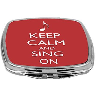 Rikki Knight Compact Mirror, Keep Calm and Sing On Red