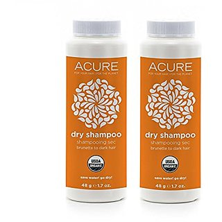 Acure Organics Dry Shampoo For Brunette to Dark Hair With Arrowroot, Rosemary and Peppermint, 1.7 oz (Pack of 2)