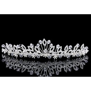 Lovely Wild Flower Design Handmade Crystal Taira Crown T1002
