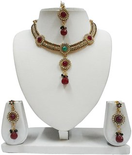 e71d002cc La Trendz Ethnic Polki Necklace Set With Maangtikka For Women - LT1352