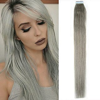 New Arrival Straight Tape in Remy Human Hair Extensions 100% Real Human Hair Gray Hair Extensions (20 inch, #Silver Gray