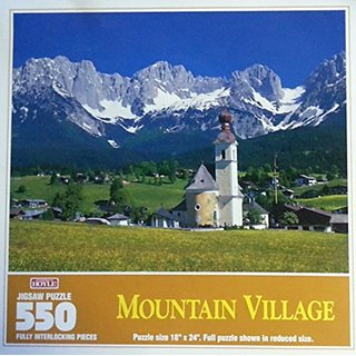 According to Hoyle Mountain Village 550 piece puzzle