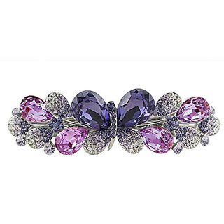 Beyend Purple Womens Fashion Crystal Butterfly Hair Clip Head Wear BE-54