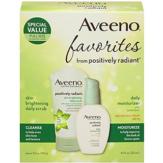Aveeno Positively Radiant Daily Scrub & Moisturizer, 2 Items (Pack of 3)