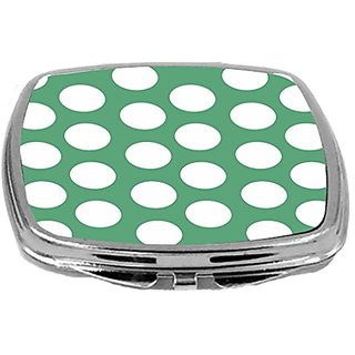 Rikki Knight Compact Mirror, Green Polka Dots