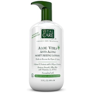 Aloe Vera Anti Aging Moisturizing Lotion by Vital Care, Softens and Protects with Collagen Proteins, Restores Smooth, Si
