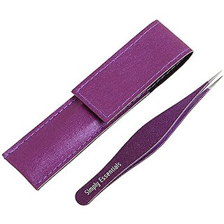 Tweezers for Ingrown Hair Sparkles Includes Purple CASE and Ebook - Professional Surgical Quality - Precision Calibrated