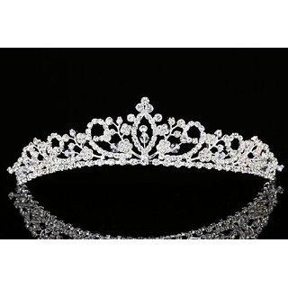 Flower Branch Rhinestone Crystal Beads Bridal Tiara Crown T930