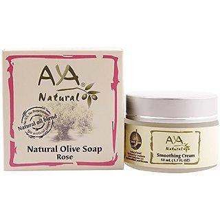 Rejuvenation Cream & Natural Soap Kit - Premium Vegan Deep Firming Smoothing Creme 1.7 oz + Rose Face Cleanser 3.4 oz