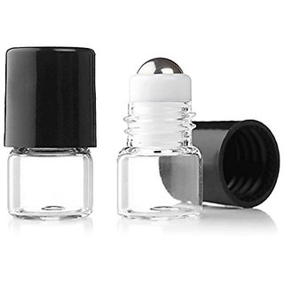 Grand Parfums Empty 1ml Micro Mini Rollon Dram Glass Bottles with Metal Roller Balls, 1/4 Dram, Pack of 6