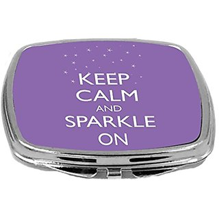 Rikki Knight Compact Mirror, Keep Calm and Sparkle On Violet