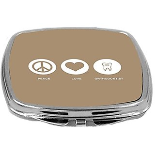 Rikki Knight Peace Love Orthodontist Design Compact Mirror, Brown, 2 Ounce