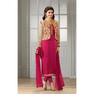 Shoponbit New Designer Pink Color Semi-stitched Salwar Suit