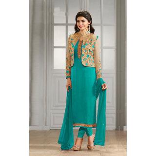 Shoponbit New Designer Sky Blue Color Semi-stitched Salwar Suit