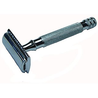 Long Handled Safety Razor Chrome with Blade