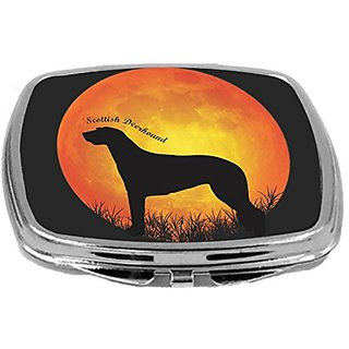 Rikki Knight Scottish Deerhound Dog Silhouette By Moon Design Compact Mirror