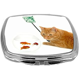 Rikki Knight Compact Mirror, Cat Fishing Goldfish