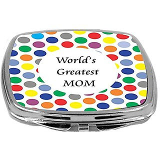 Rikki Knight Compact Mirror, Worlds Greatest Mom ED Polka Dot