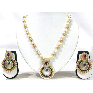 Maroon Green Stone Pendant Pearl Necklace Set