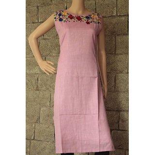 Women's Cotton Pink Stitched Anarkali Kurta Kurti