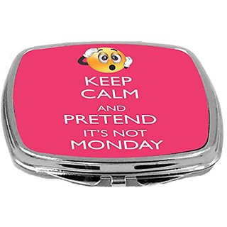 Rikki Knight Compact Mirror, Keep Calm and Pretend Its Not Monday Tropical Pink