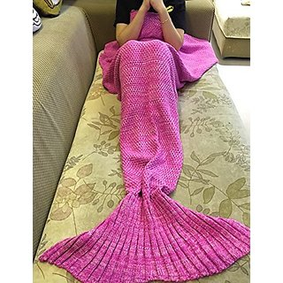 Feiuruhf Knitted Mermaid Tail Blanket for Adults Teens, Kids Crochet Snuggle Mermaid, All Seasons Sleeping Blanket (Pink