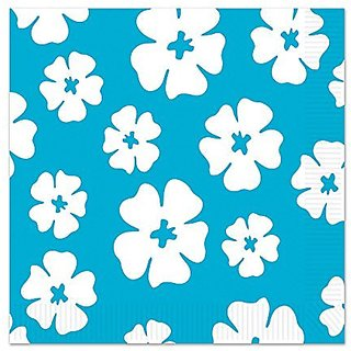 Beistle Hibiscus Luncheon Napkins, Turquoise White