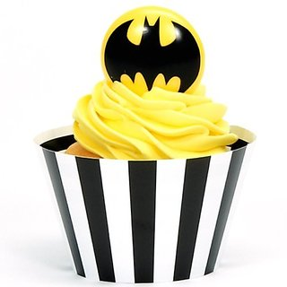 Batman Party Supplies - Cupcake Wrapper and Pick Kit