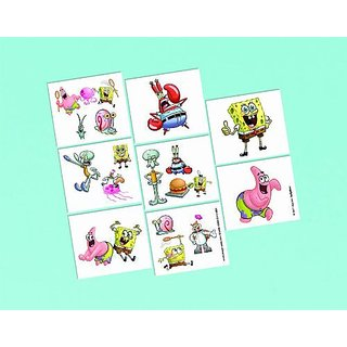 Amscan Silly Sponge Bob Party Temporary Tattoo Favors, Multicolor, 2
